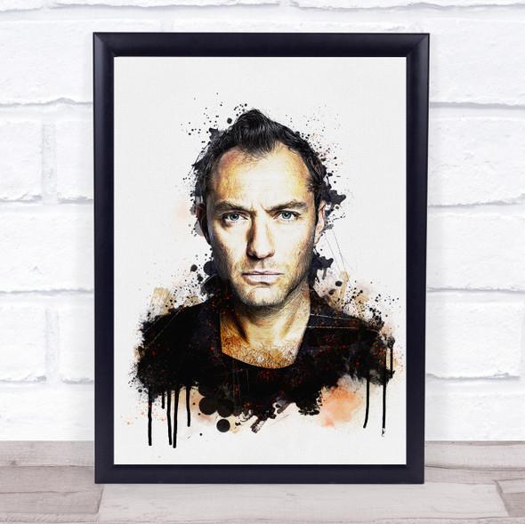 Jude Law Splatter Wall Art Print
