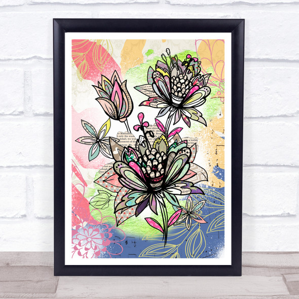 Abstract Vintage Flowers Bright Music Leaves Wall Art Print