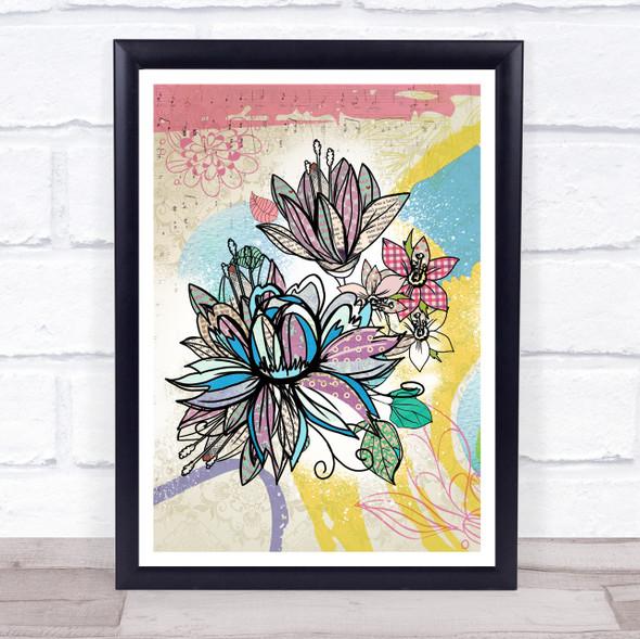 Abstract Vintage Flowers Lotus Music Leaves Wall Art Print