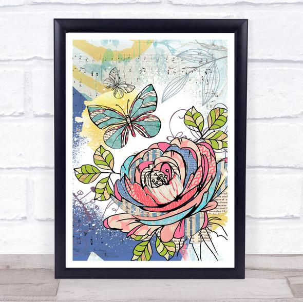 Abstract Vintage Flowers Rose & Butterflies Wall Art Print