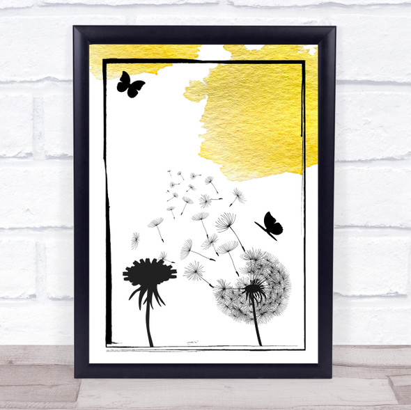Dandelion Seeds Watercolour Mustard Yellow Wall Art Print