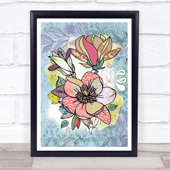 Abstract Vintage Flowers Magnolias Blue Wall Art Print