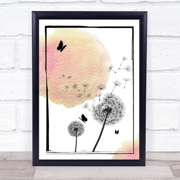 Dandelion Seeds Watercolour Peach Pink Wall Art Print