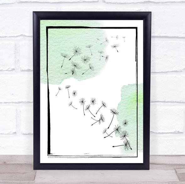 Dandelion Seeds Watercolour Pine Green Wall Art Print