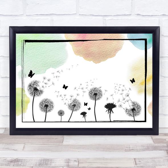 Dandelion Seeds Watercolour Landscape Wall Art Print