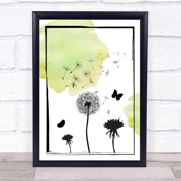 Dandelion Seeds Watercolour Green Wall Art Print