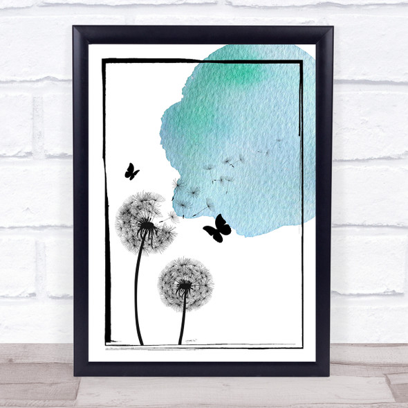 Dandelion Seeds Watercolour Blue Wall Art Print