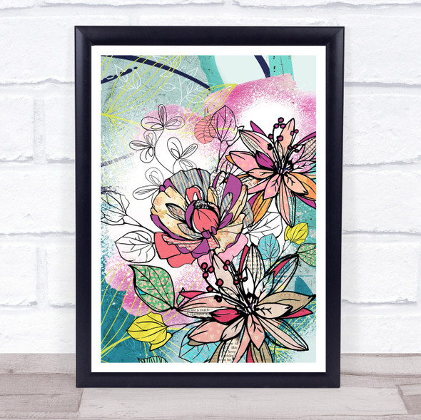 Abstract Vintage Flowers Bright Wall Art Print
