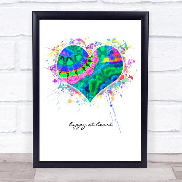 Hippy At Heart Tie Die Splatter Heart Wall Art Print