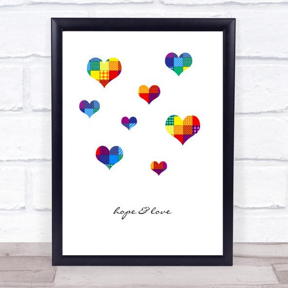 Hope & Love Rainbow Patchwork Hearts Wall Art Print