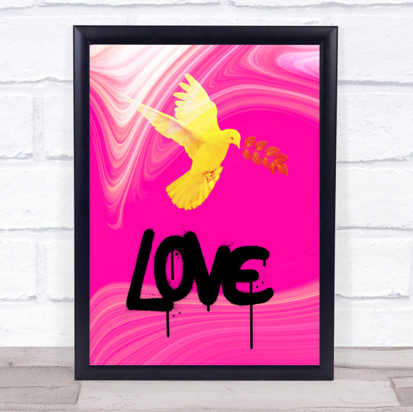 Love Pink Neon Marble Effect Dove Wall Art Print