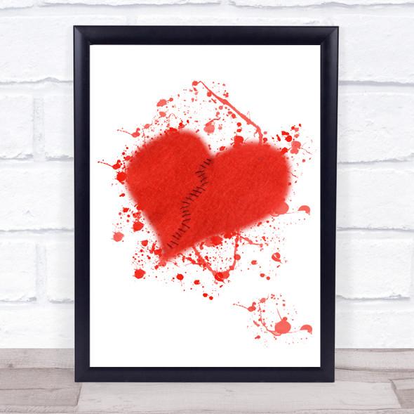 Broken Heart In Stiches Splatter Wall Art Print