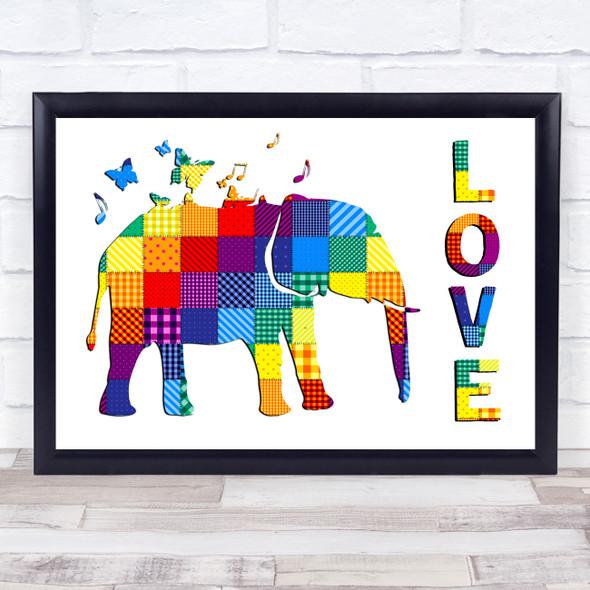 Patchwork Rainbow Elephant Love Wall Art Print