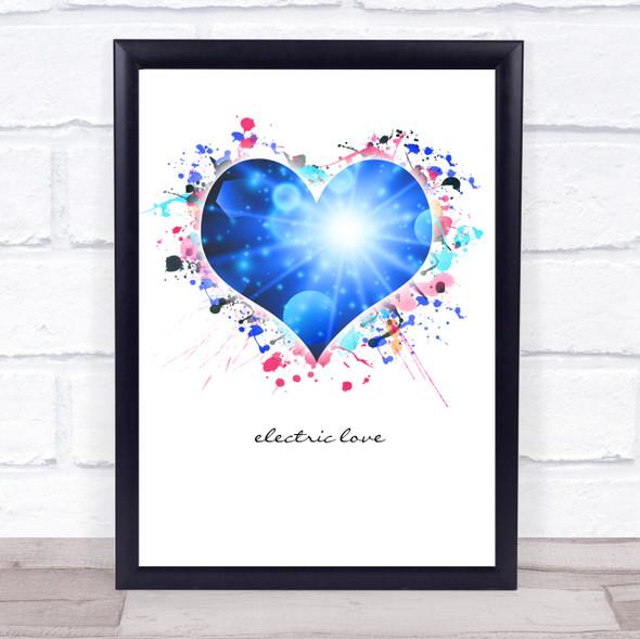 Electric Love Splatter Heart Wall Art Print