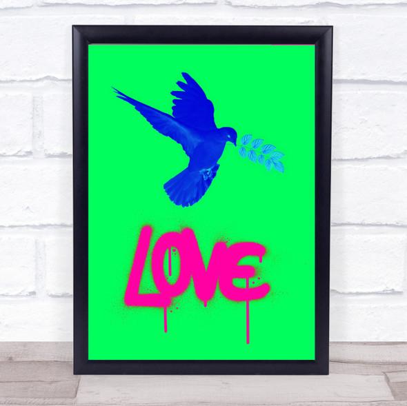 Love Neon Green Blue Dove Wall Art Print