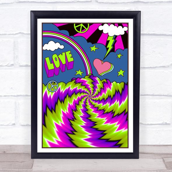 Psychedelic Hippie Purple & Green Love Peace Swirl Wall Art Print