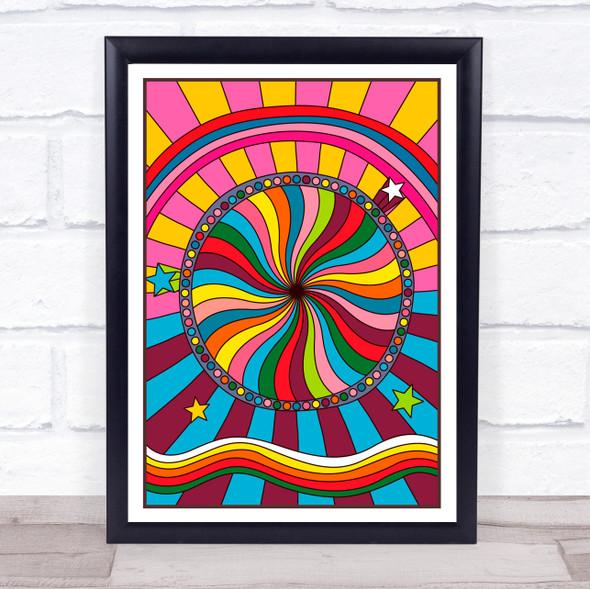Psychedelic Hippie  Rainbow Stars Circle Swirls Wall Art Print