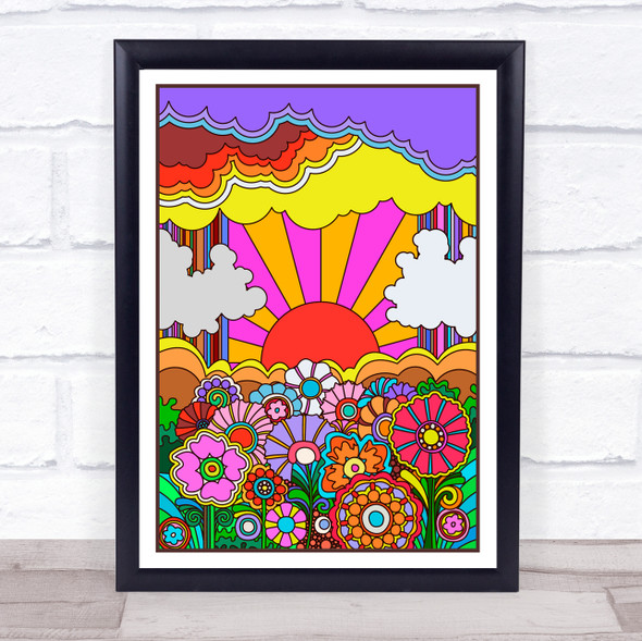 Psychedelic Hippie Colourful Sun Flowers Clouds Wall Art Print