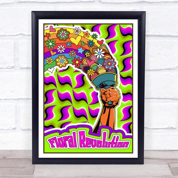 Psychedelic Hippie Floral Revolution Star Burst Wall Art Print