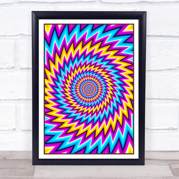 Psychedelic Yellow Purple Blue Spiral Zigzag Wall Art Print