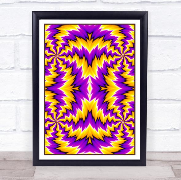 Psychedelic Purple Yellow Multiple Zigzag Wall Art Print