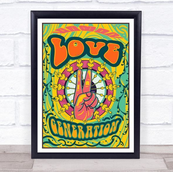 Psychedelic Hippie Peace Love Generation Wall Art Print
