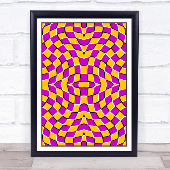 Psychedelic Yellow Purple Bending Square Wall Art Print
