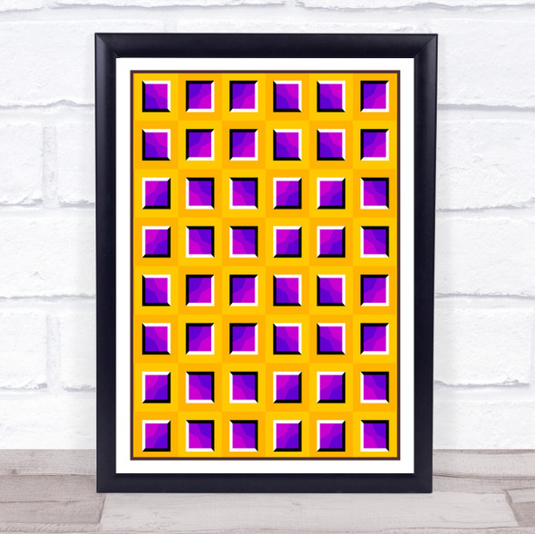 Psychedelic Yellow Purple Square Waffle Wall Art Print