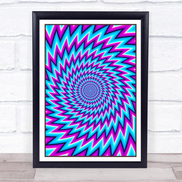 Psychedelic Hippie Blue Purple Zigzag Wall Art Print
