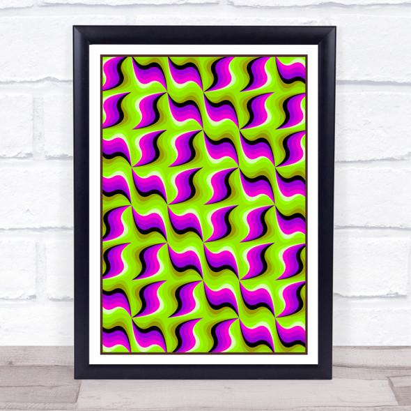 Psychedelic Hippie Green Purple Waves Wall Art Print
