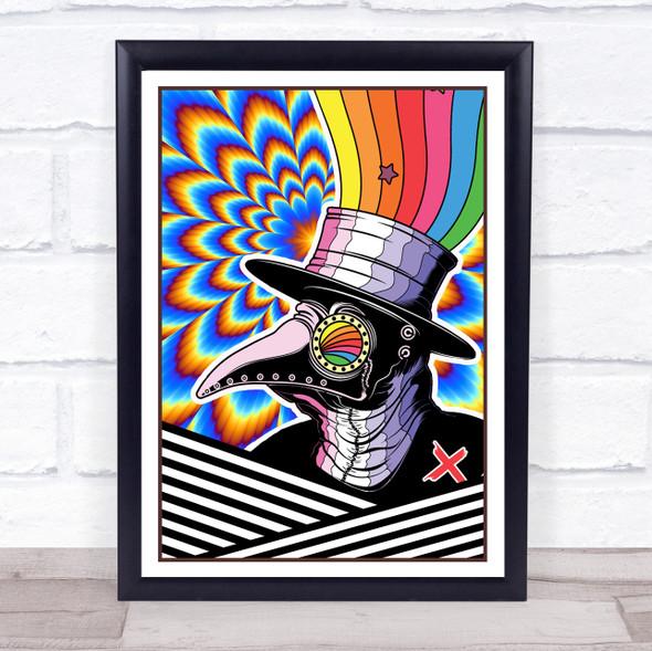 Psychedelic Hippie Rainbow Man Crow Wall Art Print