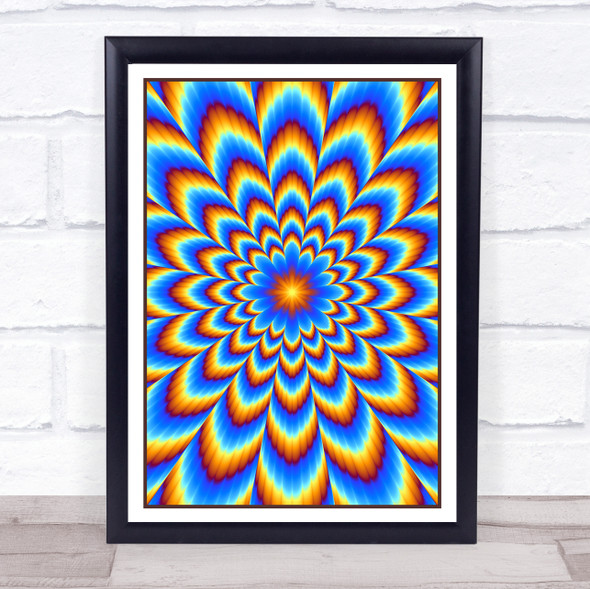 Psychedelic Hippie Blue Yellow Red Wall Art Print