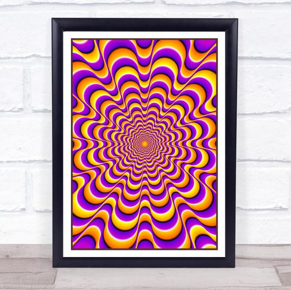 Psychedelic Yellow Purple Flower Wall Art Print