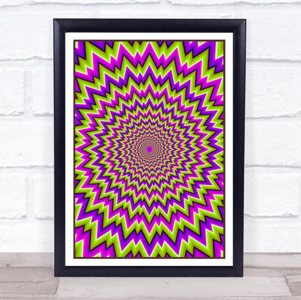 Psychedelic Purple Green Burst Wall Art Print