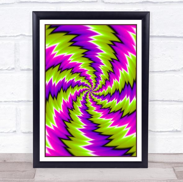 Psychedelic Purple Green Swirl Wall Art Print