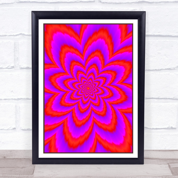 Psychedelic Purple Red Flower Wall Art Print