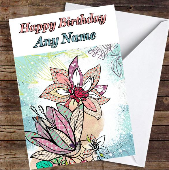 Abstract Vintage Flowers Sea Blue Colourful Leaves Personalised Birthday Card