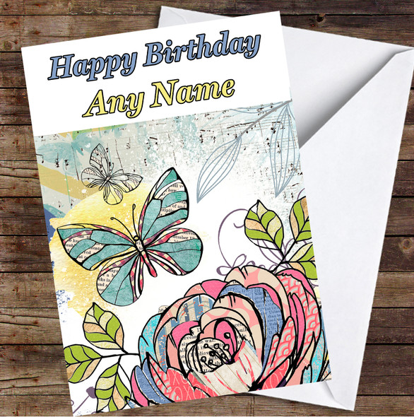 Abstract Vintage Flowers Rose & Butterflies Personalised Birthday Card