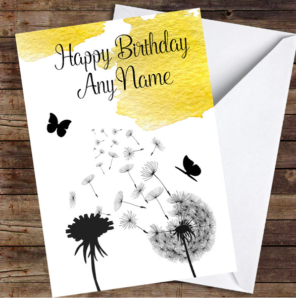 Dandelion Seeds Watercolour Mustard Yellow Personalised Birthday Card