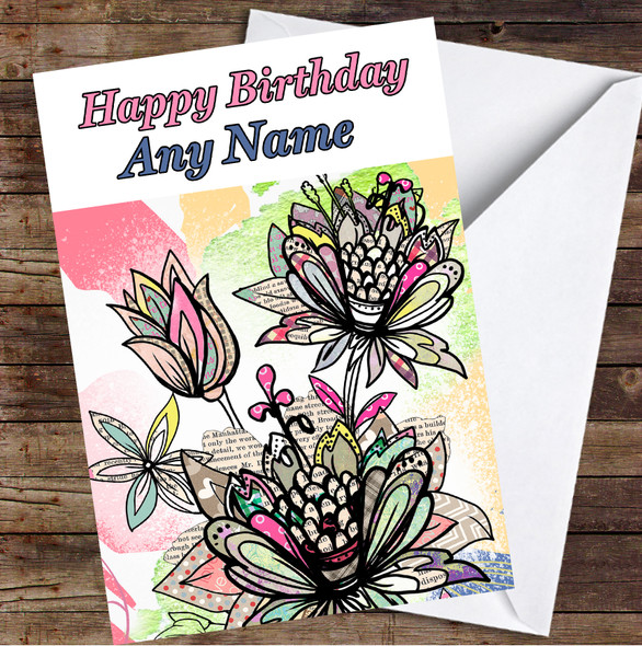 Abstract Vintage Flowers Colourful Leaves Personalised Birthday Card