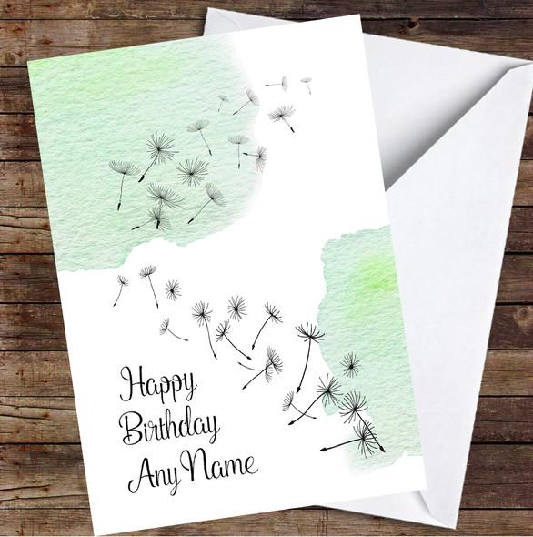 Dandelion Seeds Watercolour Pine Green Personalised Birthday Card