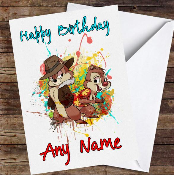 Chip 'N Dale's Rescue Rangers Splatter Personalised Birthday Card