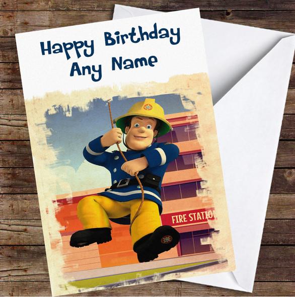 Fireman Sam Swinging Brush Personalised Birthday Card