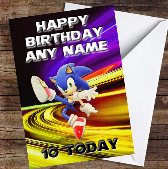 Sonic The Hedgehog Lights Personalised Birthday Card