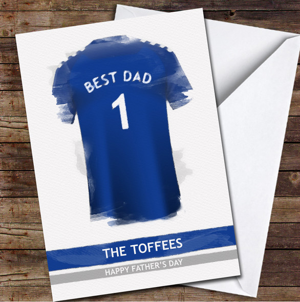 Everton Football Team Shirt Paint Effect Best Dad Personalised Father's Day Greetings Card