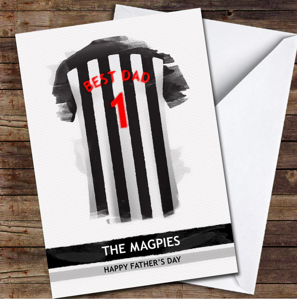 Newcastle United Football Team Shirt Best Dad Personalised Father's Day Greetings Card