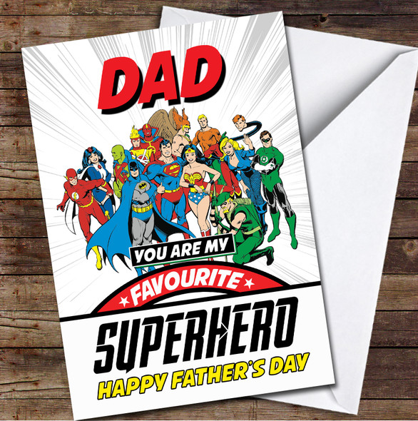 Dad My Favourite Superhero Characters Personalised Father's Day Greetings Card