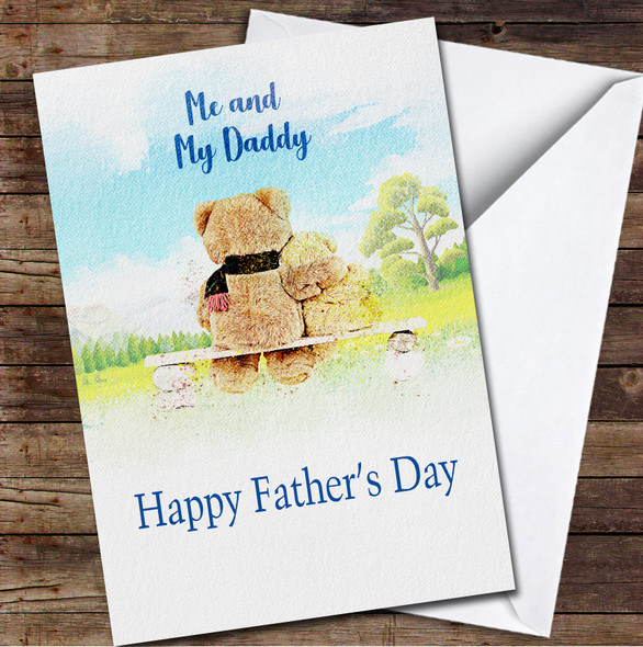 Me And My Daddy Watercolour Bears Personalised Father's Day Greetings Card