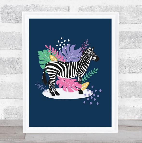 Zebra Modern Bright Floral Wall Art Print