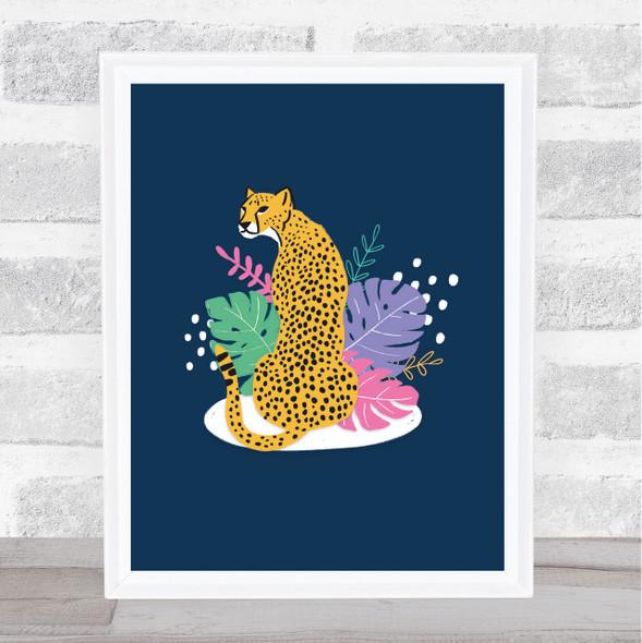 Cheetah Modern Bright Floral Wall Art Print